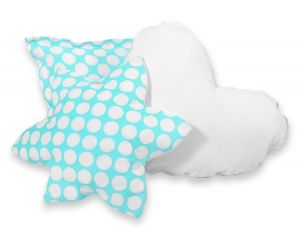 3pcs pillow set -  turquoise with white dots