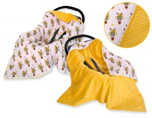 Double-sided car seat blanket - yellow zebras