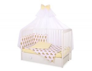 Bedding set 5-pcs with mosquito-net - yellow zebras
