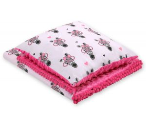 Set: Double-sided blanket minky + pillow- pink zebras