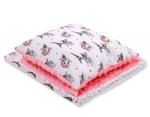 Set: Double-sided blanket minky + pillow- little doggies
