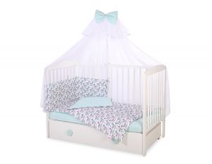 Bedding set 5-pcs with mosquito-net - rocking horses