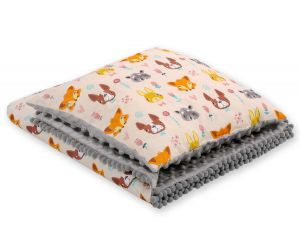 Set: Double-sided blanket minky + pillow-cream animals