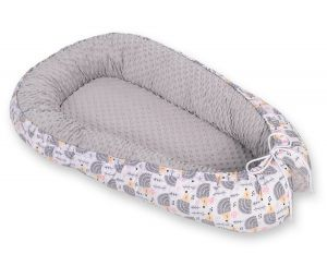 Baby nest minky - hedgehogs grey