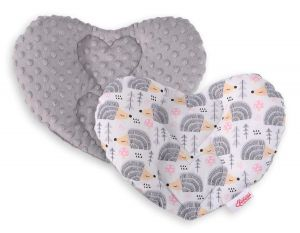 Double-sided Baby head support pillow - hedgehogs grey