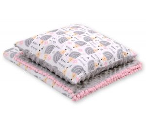 Set: Double-sided blanket minky + pillow- hedgehogs grey