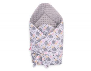 Baby nest minky with bow - hedgehogs grey