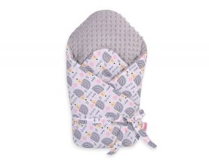 Baby nest minky with stiffening with bow - hedgehogs grey