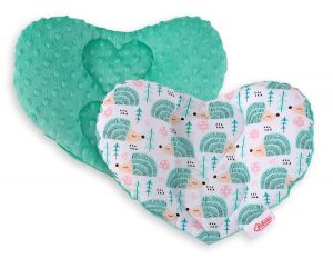 Double-sided Baby head support pillow - hedgehogs mint