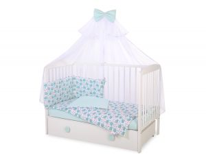 Bedding set 5-pcs with mosquito-net - hedgehogs mint