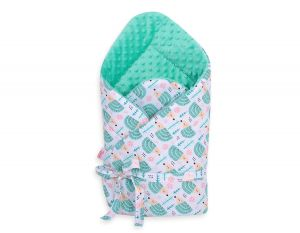 Baby nest minky with bow - hedgehogs mint