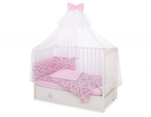 Bedding set 5-pcs with mosquito-net - pink  butterflies