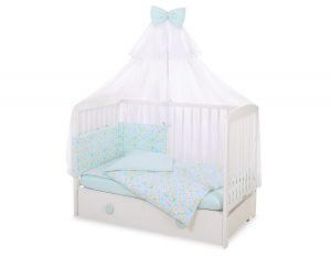 Bedding set 5-pcs with mosquito-net - blue buterflies