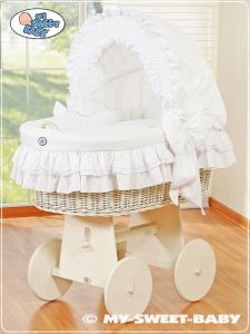 Wicker crib with hood- Little Angel white