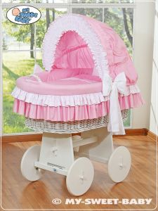 Wicker crib with hood- Bellamy pink