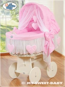 Moses Basket/Wicker crib with hood- Amelie pink