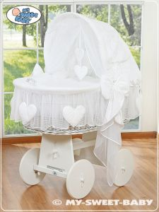 Wicker crib with hood- Amelie white