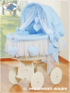 Moses Basket/Wicker crib with hood- Amelie blue