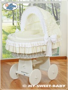 Moses Basket/Wicker crib with hood- Bellamy cream