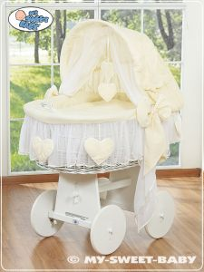 Wicker crib with hood- Amelie cream