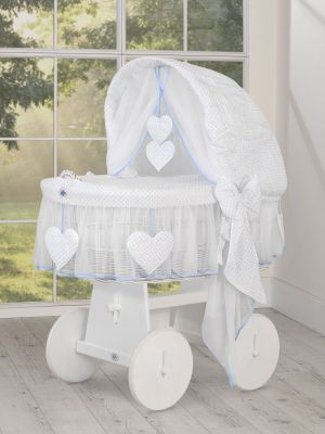 Moses Basket/Wicker hood crib- Amelie blue polka dots on white