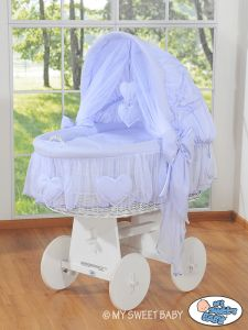 Moses Basket/Wicker crib with hood- Amelie lilac