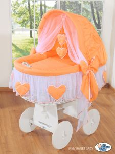 Moses Basket/Wicker crib with hood- Amelie peach