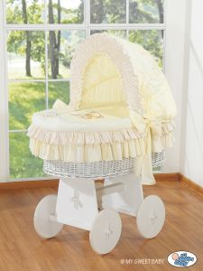 Moses Basket/Wicker crib with hood- Bear with bow cream