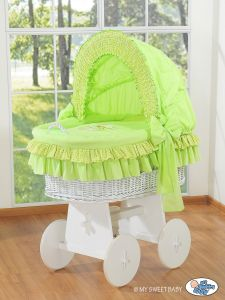 Moses Basket/Wicker crib with hood- Bear with bow green