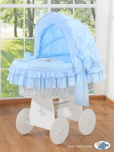 Moses Basket/Wicker crib with hood- Bear with bow blue