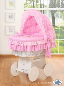 Moses Basket/Wicker crib with hood- Bear with bow pink