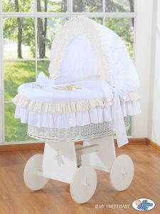 Moses Basket/Wicker crib with hood- Bear with bow white