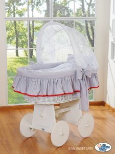 Moses Basket/Wicker crib with hood- Glamour grey-red