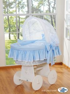 Moses Basket/Wicker crib with hood- Glamour blue-white