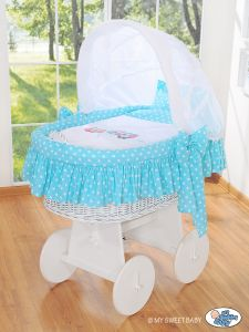 Moses Basket/Wicker crib with hood- Owls Bigi Zibi & Adele turquoise