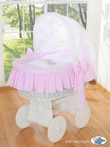 Moses Basket/Wicker crib with hood- Owls Bigi Zibi & Adele pink