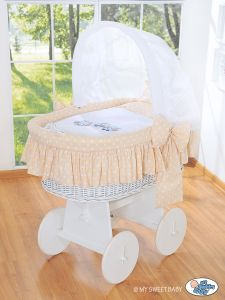 Moses Basket/Wicker crib with hood- Owls Bigi Zibi & Adele beige