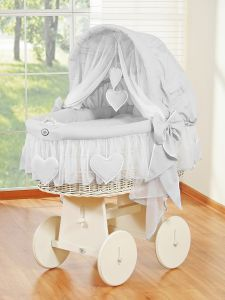Moses Basket/Wicker crib with hood- Amelie gray