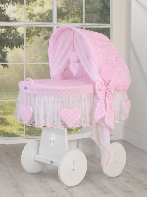 Moses Basket/Wicker crib with hood- Amelie  white dots on pink