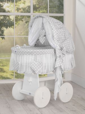 Moses Basket/Wicker crib with hood white dots on gray