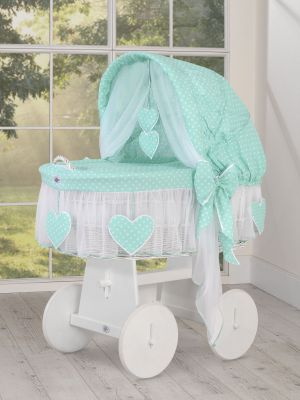 Moses Basket/Wicker hood crib- Amelie dots on mint  Limited Edition