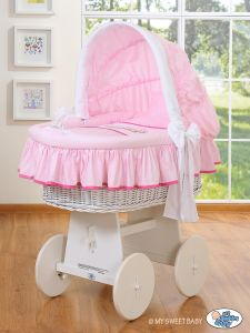 Moses Basket/Wicker crib with hood- Teddy Bear Barnaba pink