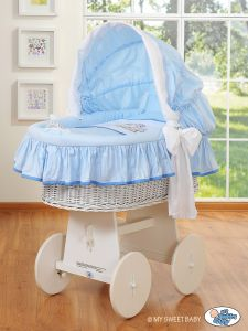 Moses Basket/Wicker crib with hood- Teddy Bear Barnaba blau