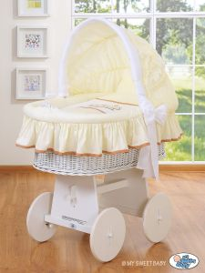 Moses Basket/Wicker crib with hood- Teddy Bear Barnaba cream