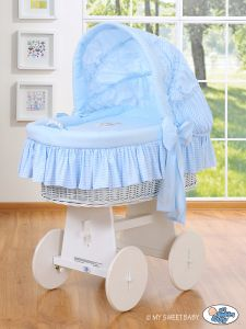 Moses Basket/Wicker crib with hood- Good night blue