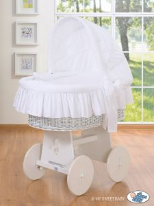 Moses Basket/Wicker crib with hood- Good night white