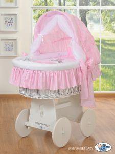 Wicker crib with hood- Donkey Luca pink