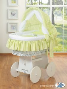 Moses Basket/Wicker crib with hood- Donkey Luca green