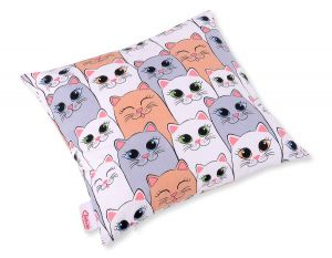 Pillow case -  gray-pink cats
