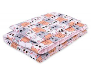 Bedding set 2pcs 100x135 Mini - gray-pink cats